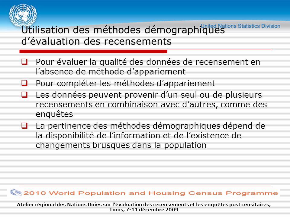 Utilisation des méthodes démographiques dévaluation des recensements Pour évaluer la qualité des données de recensement en labsence de méthode dappari