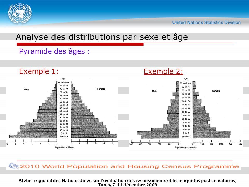 Analyse des distributions par sexe et âge Pyramide des âges : Exemple 1:Exemple 2: Atelier régional des Nations Unies sur lévaluation des recensements