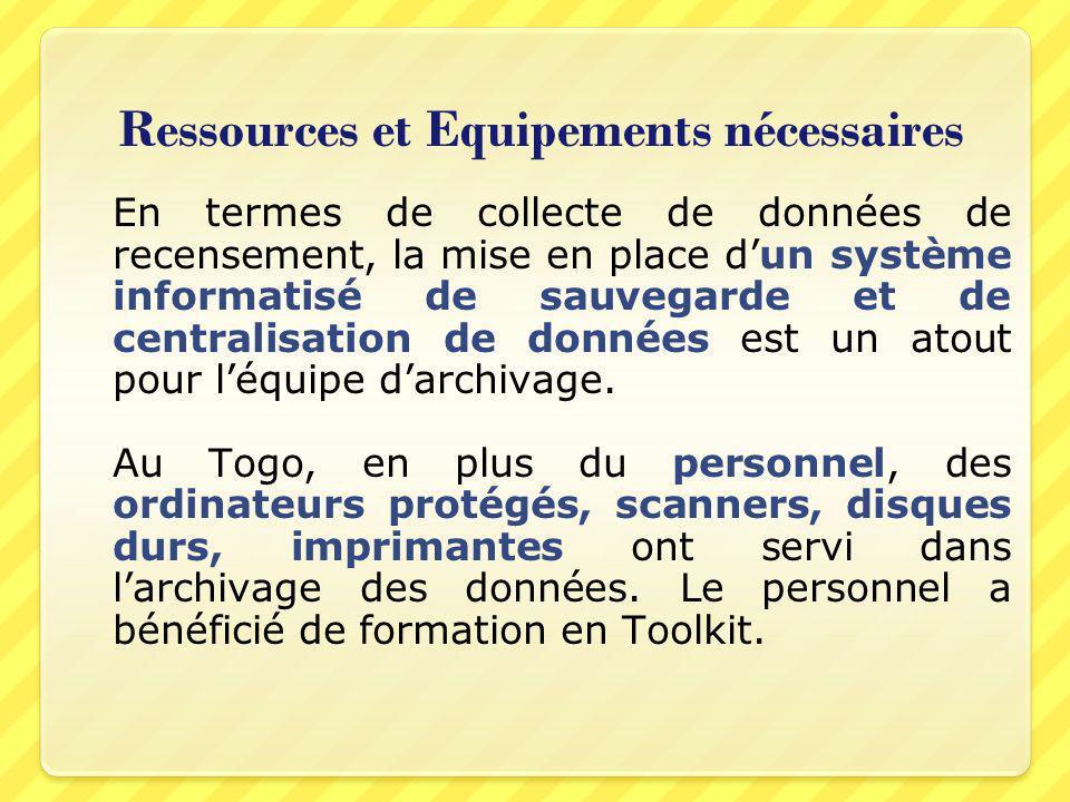 Ressources et Equipements nécessaires En termes de collecte de données de recensement, la mise en place dun système informatisé de sauvegarde et de ce