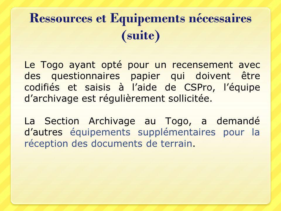 Ressources et Equipements nécessaires (suite) Le Togo ayant opté pour un recensement avec des questionnaires papier qui doivent être codifiés et saisi