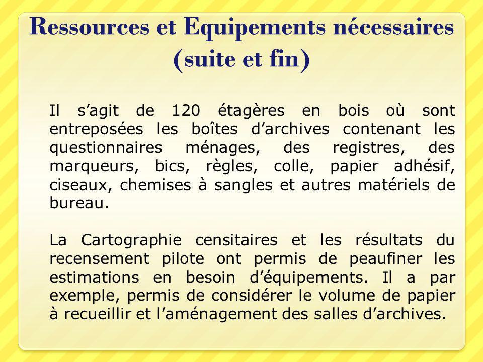 Ressources et Equipements nécessaires (suite et fin) Il sagit de 120 étagères en bois où sont entreposées les boîtes darchives contenant les questionn