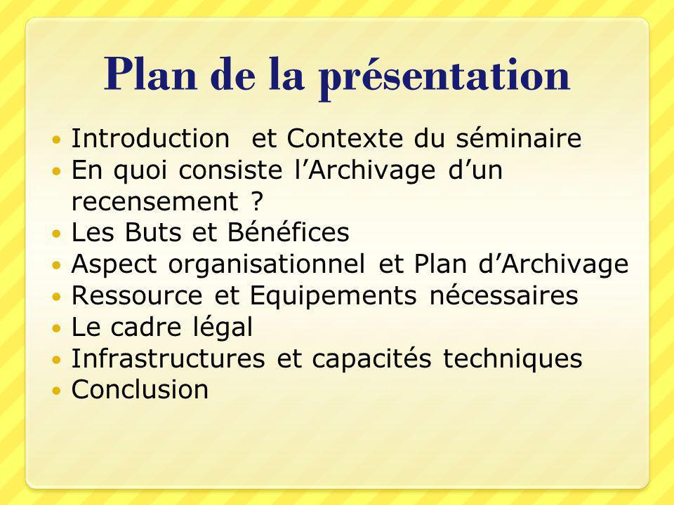 Plan de la présentation Introduction et Contexte du séminaire En quoi consiste lArchivage dun recensement ? Les Buts et Bénéfices Aspect organisationn