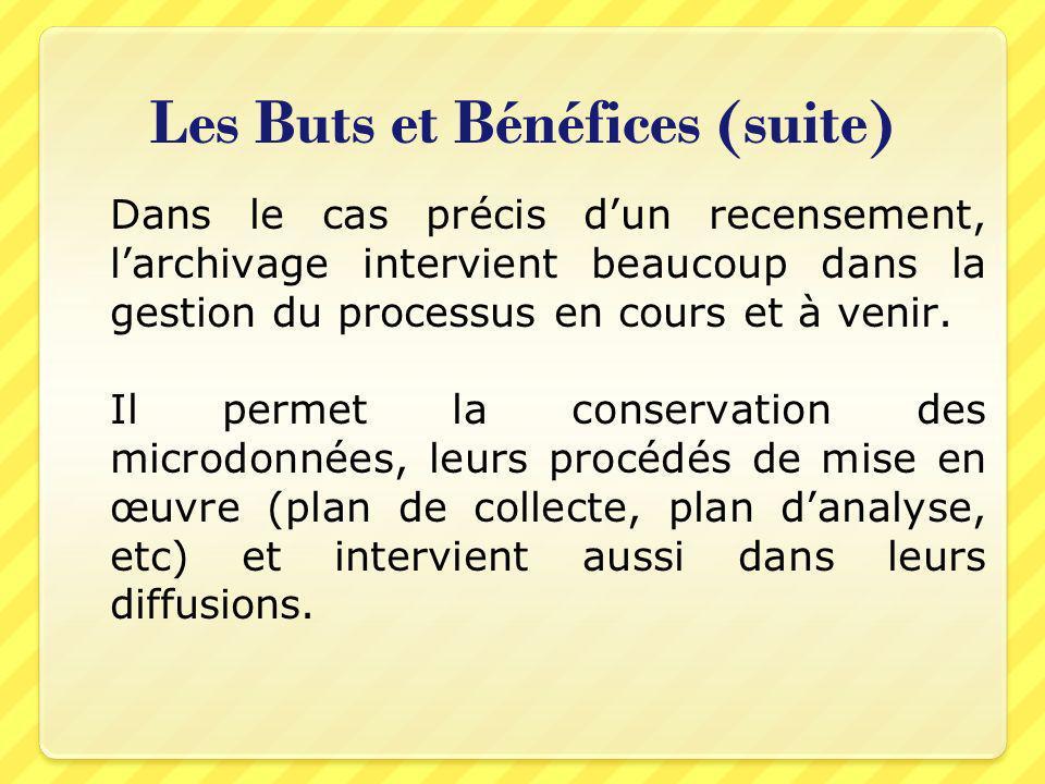 Les Buts et Bénéfices (suite) Dans le cas précis dun recensement, larchivage intervient beaucoup dans la gestion du processus en cours et à venir. Il