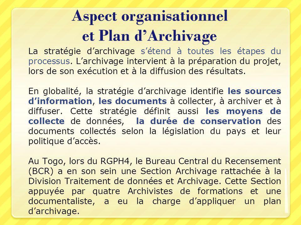 Aspect organisationnel et Plan dArchivage La stratégie darchivage sétend à toutes les étapes du processus. Larchivage intervient à la préparation du p