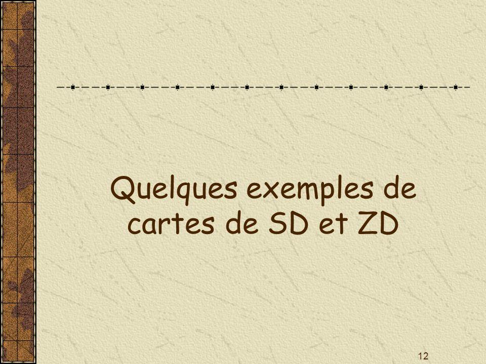 12 Quelques exemples de cartes de SD et ZD
