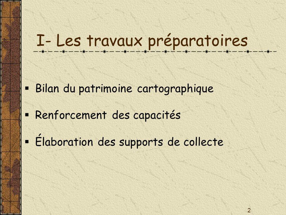 2 I- Les travaux préparatoires Bilan du patrimoine cartographique Renforcement des capacités Élaboration des supports de collecte