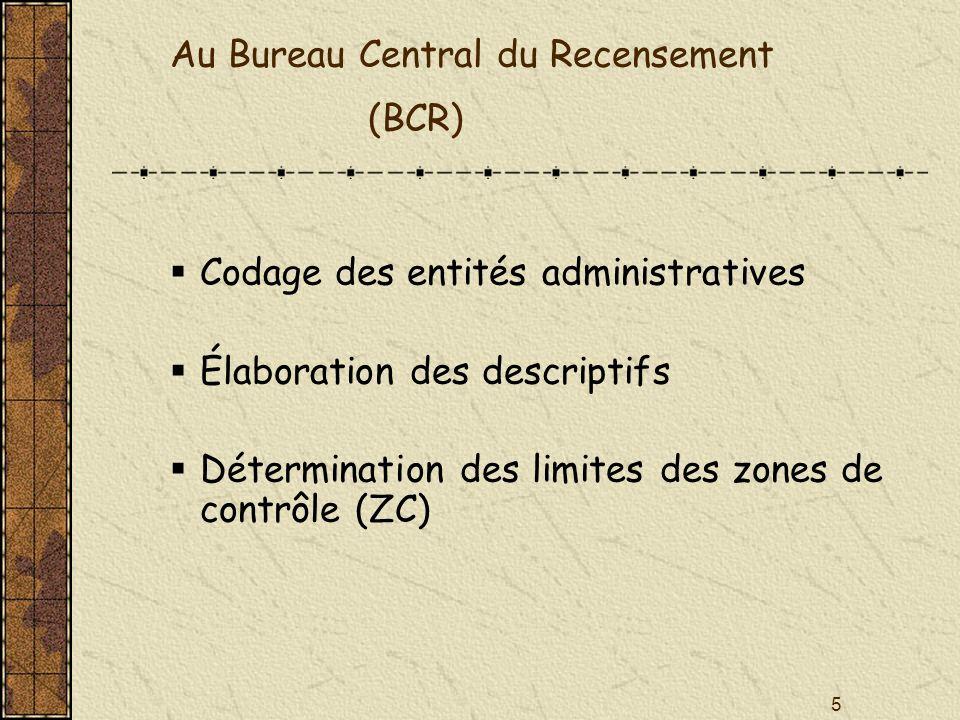5 Au Bureau Central du Recensement (BCR) Codage des entités administratives Élaboration des descriptifs Détermination des limites des zones de contrôl