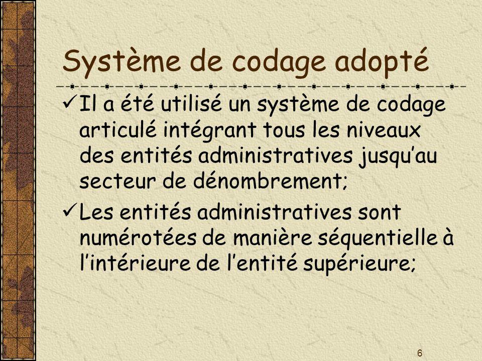 6 Système de codage adopté Il a été utilisé un système de codage articulé intégrant tous les niveaux des entités administratives jusquau secteur de dé