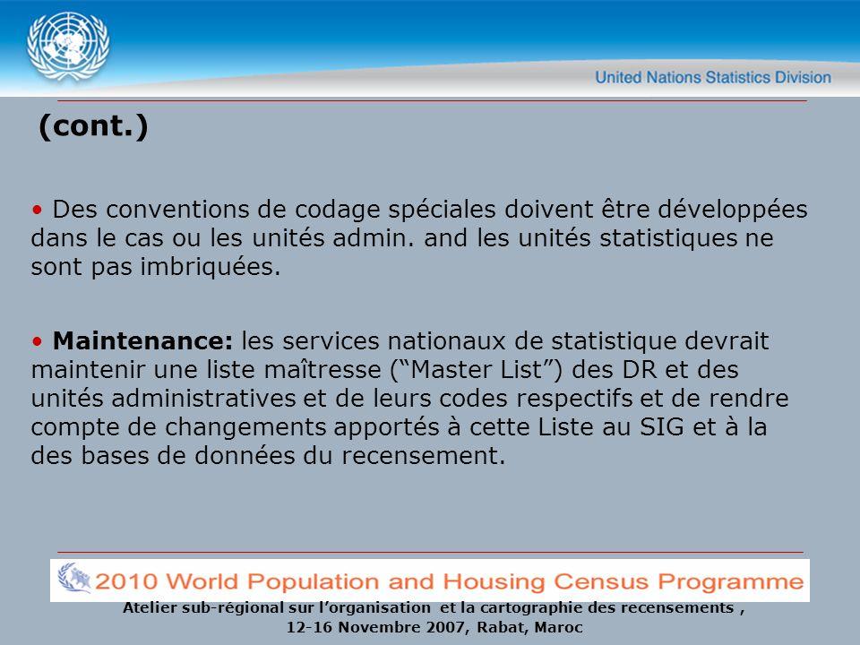 Atelier sub-régional sur lorganisation et la cartographie des recensements, 12-16 Novembre 2007, Rabat, Maroc (cont.) Des conventions de codage spécia