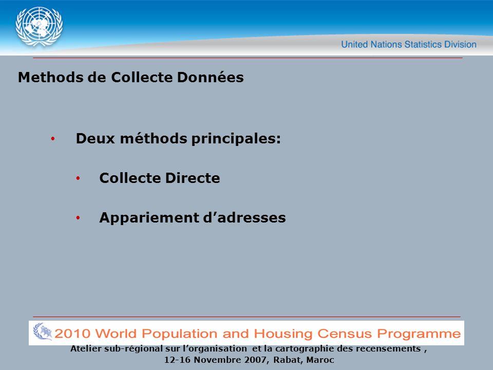 Atelier sub-régional sur lorganisation et la cartographie des recensements, 12-16 Novembre 2007, Rabat, Maroc Methods de Collecte Données Deux méthods