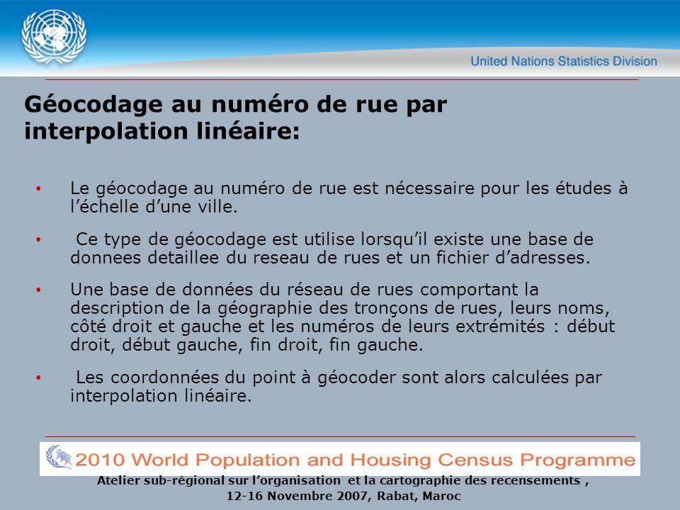 Atelier sub-régional sur lorganisation et la cartographie des recensements, 12-16 Novembre 2007, Rabat, Maroc Géocodage au numéro de rue par interpola