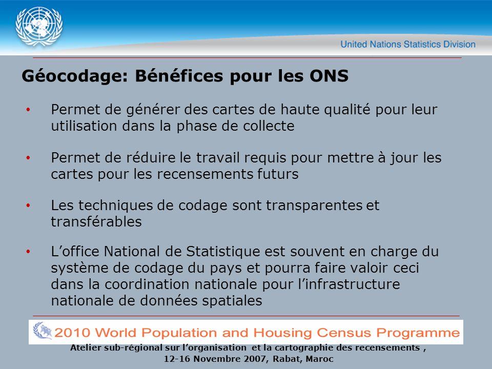 Atelier sub-régional sur lorganisation et la cartographie des recensements, 12-16 Novembre 2007, Rabat, Maroc Géocodage: Bénéfices pour les ONS Permet