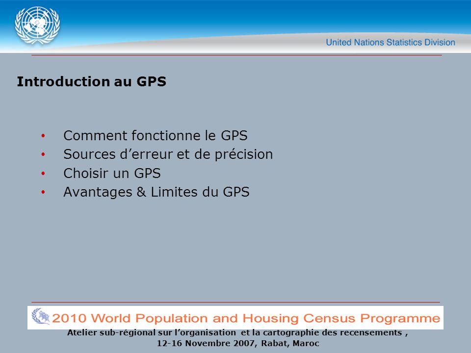 Atelier sub-régional sur lorganisation et la cartographie des recensements, 12-16 Novembre 2007, Rabat, Maroc Introduction au GPS Comment fonctionne l