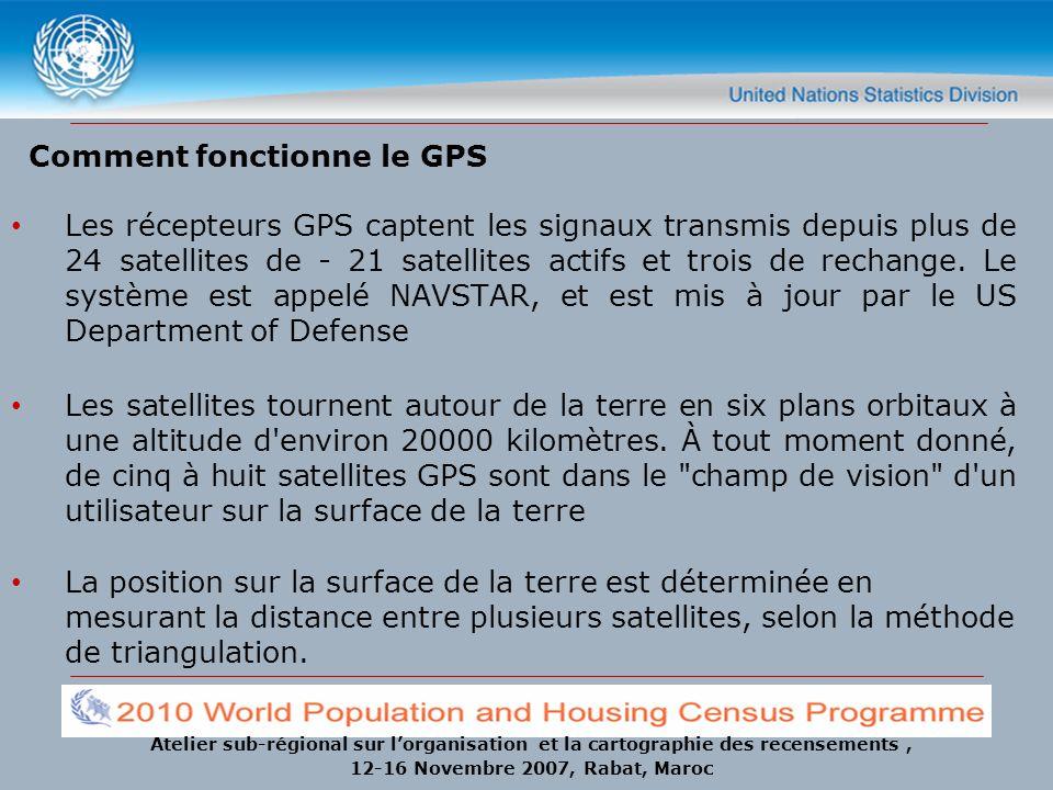 Atelier sub-régional sur lorganisation et la cartographie des recensements, 12-16 Novembre 2007, Rabat, Maroc Comment fonctionne le GPS Les récepteurs