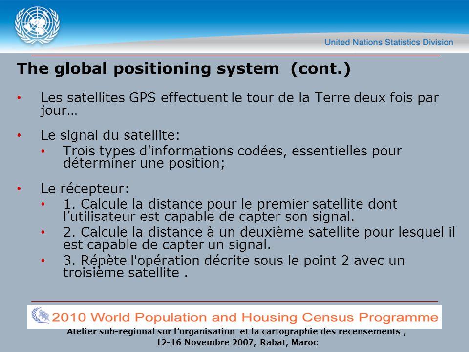 Atelier sub-régional sur lorganisation et la cartographie des recensements, 12-16 Novembre 2007, Rabat, Maroc The global positioning system (cont.) Le