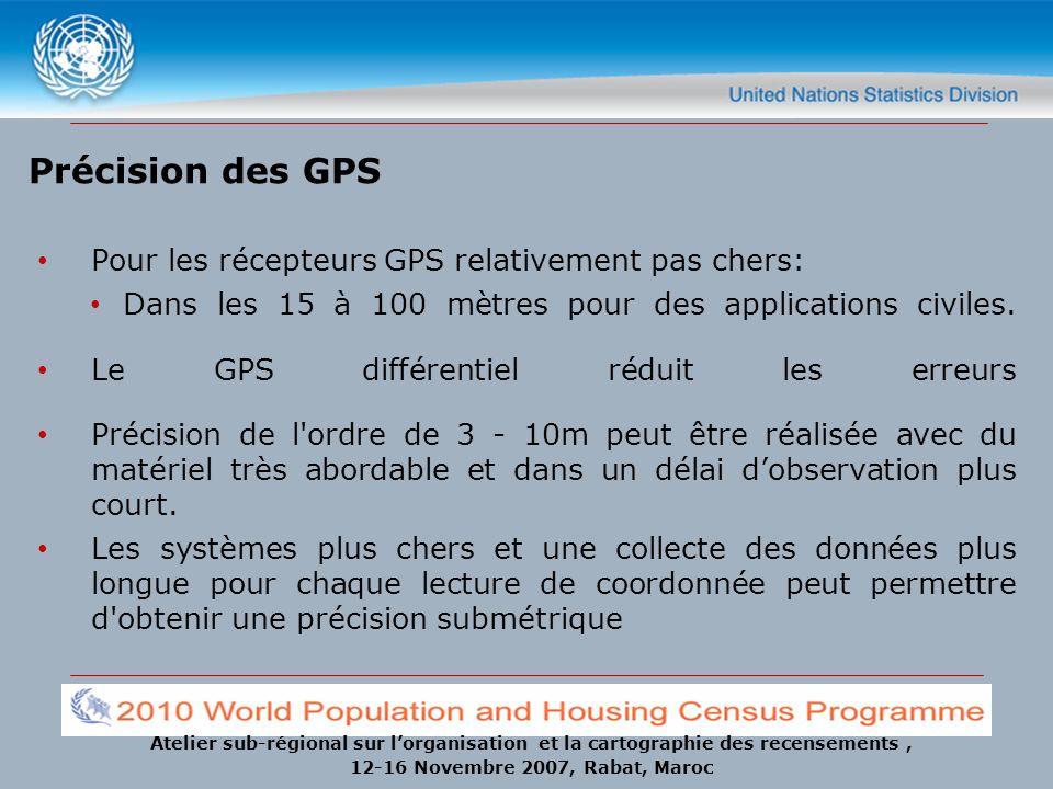 Atelier sub-régional sur lorganisation et la cartographie des recensements, 12-16 Novembre 2007, Rabat, Maroc Précision des GPS Pour les récepteurs GP