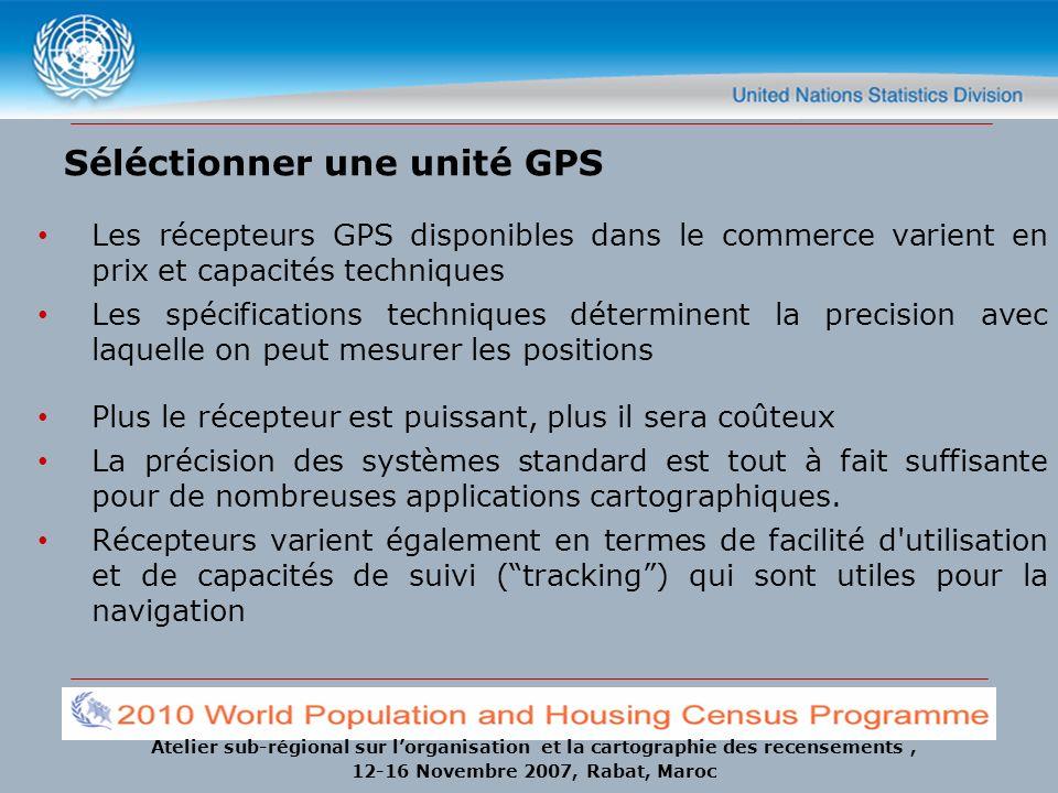 Atelier sub-régional sur lorganisation et la cartographie des recensements, 12-16 Novembre 2007, Rabat, Maroc Séléctionner une unité GPS Les récepteur