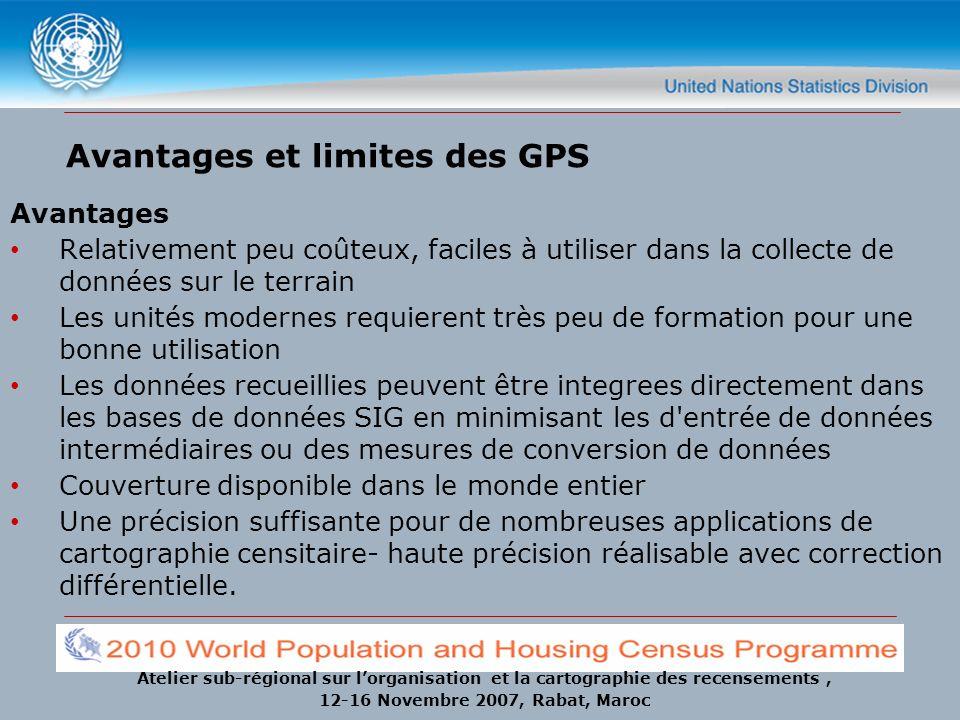 Atelier sub-régional sur lorganisation et la cartographie des recensements, 12-16 Novembre 2007, Rabat, Maroc Avantages et limites des GPS Avantages R