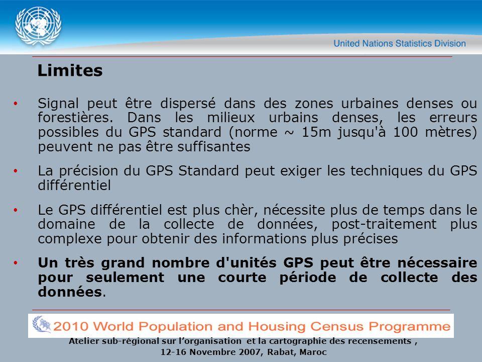 Atelier sub-régional sur lorganisation et la cartographie des recensements, 12-16 Novembre 2007, Rabat, Maroc Limites Signal peut être dispersé dans d