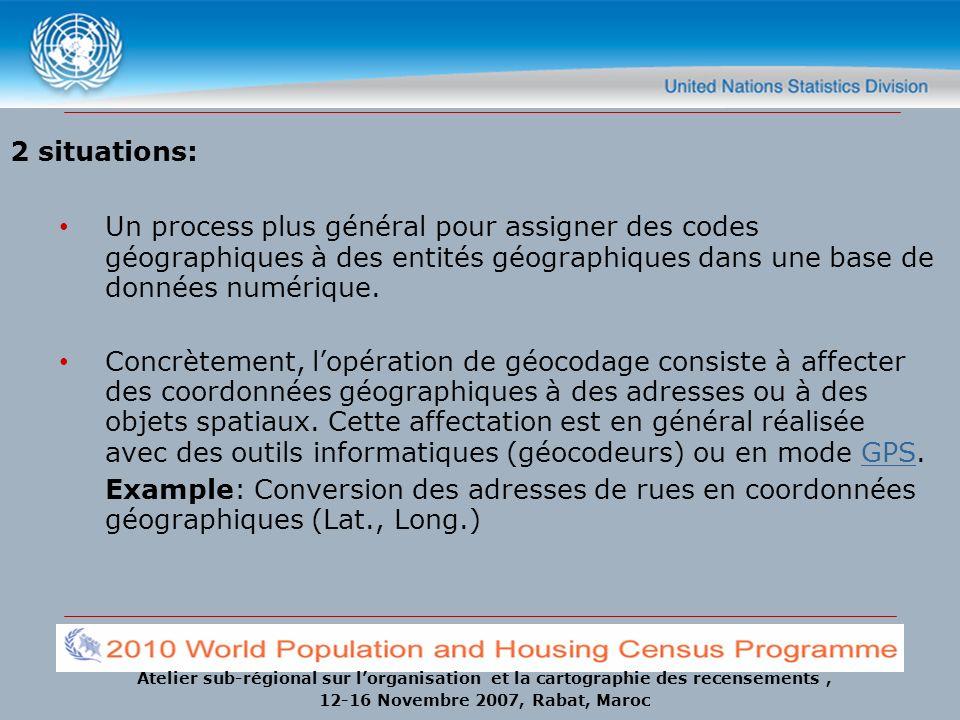 Atelier sub-régional sur lorganisation et la cartographie des recensements, 12-16 Novembre 2007, Rabat, Maroc Précision des GPS Pour les récepteurs GPS relativement pas chers: Dans les 15 à 100 mètres pour des applications civiles.