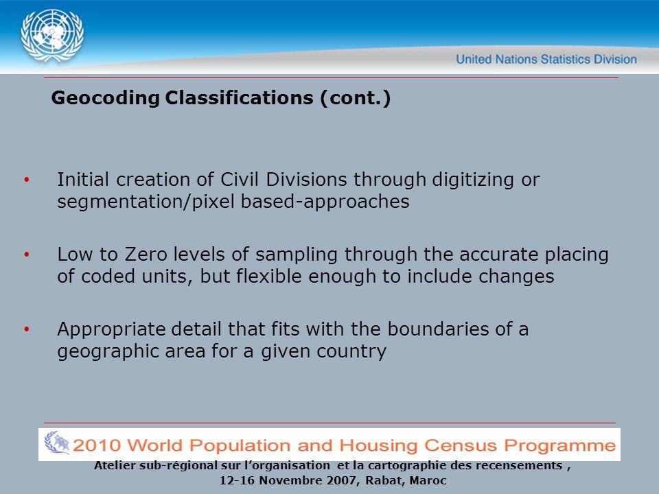 Atelier sub-régional sur lorganisation et la cartographie des recensements, 12-16 Novembre 2007, Rabat, Maroc Geocoding Classifications (cont.) Initia