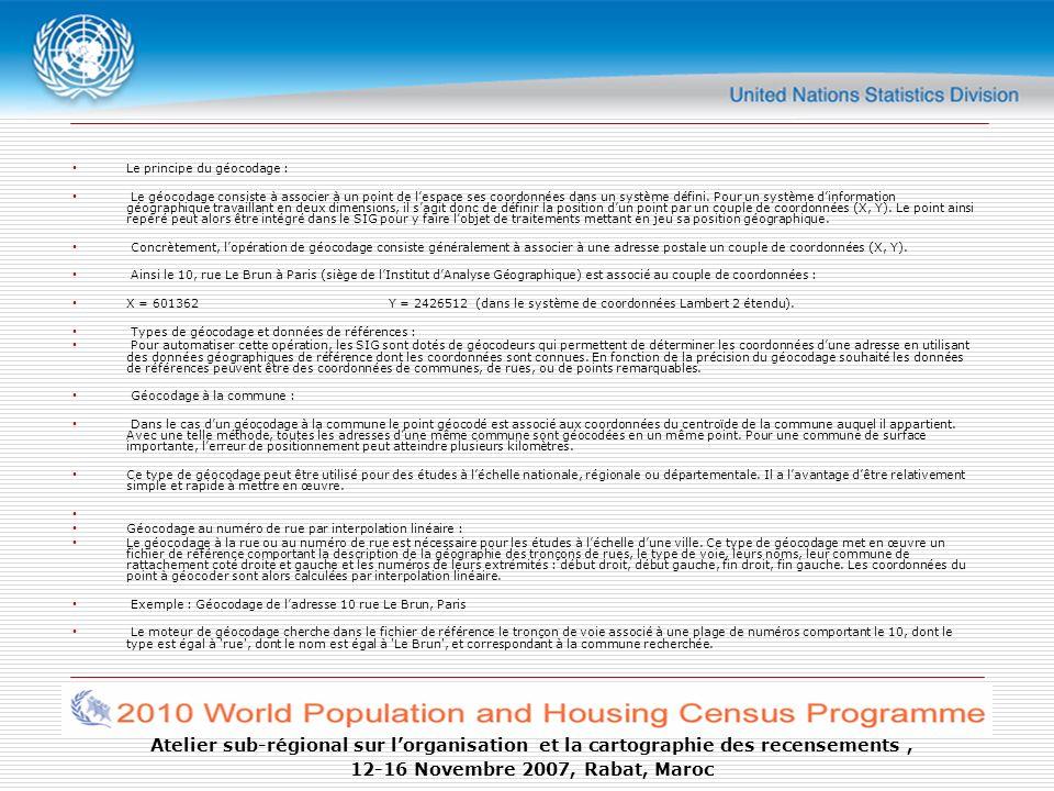 Atelier sub-régional sur lorganisation et la cartographie des recensements, 12-16 Novembre 2007, Rabat, Maroc Le principe du géocodage : Le géocodage