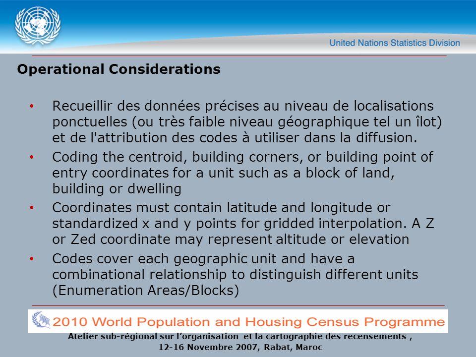 Atelier sub-régional sur lorganisation et la cartographie des recensements, 12-16 Novembre 2007, Rabat, Maroc Operational Considerations Recueillir de