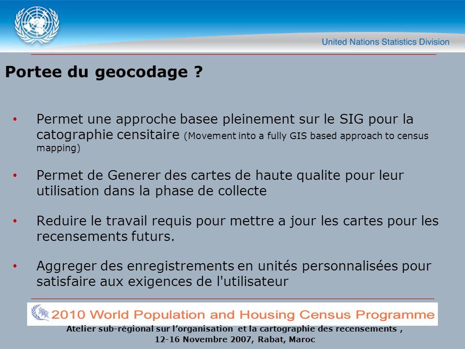Atelier sub-régional sur lorganisation et la cartographie des recensements, 12-16 Novembre 2007, Rabat, Maroc Portee du geocodage ? Permet une approch