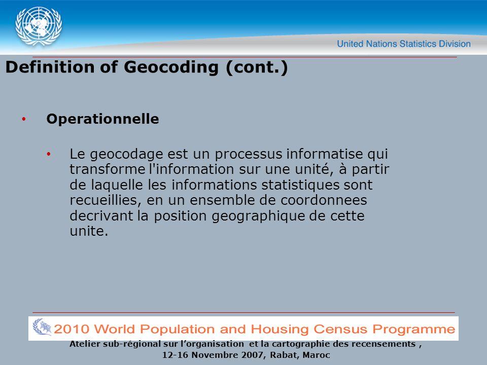 Atelier sub-régional sur lorganisation et la cartographie des recensements, 12-16 Novembre 2007, Rabat, Maroc Definition of Geocoding (cont.) Operatio