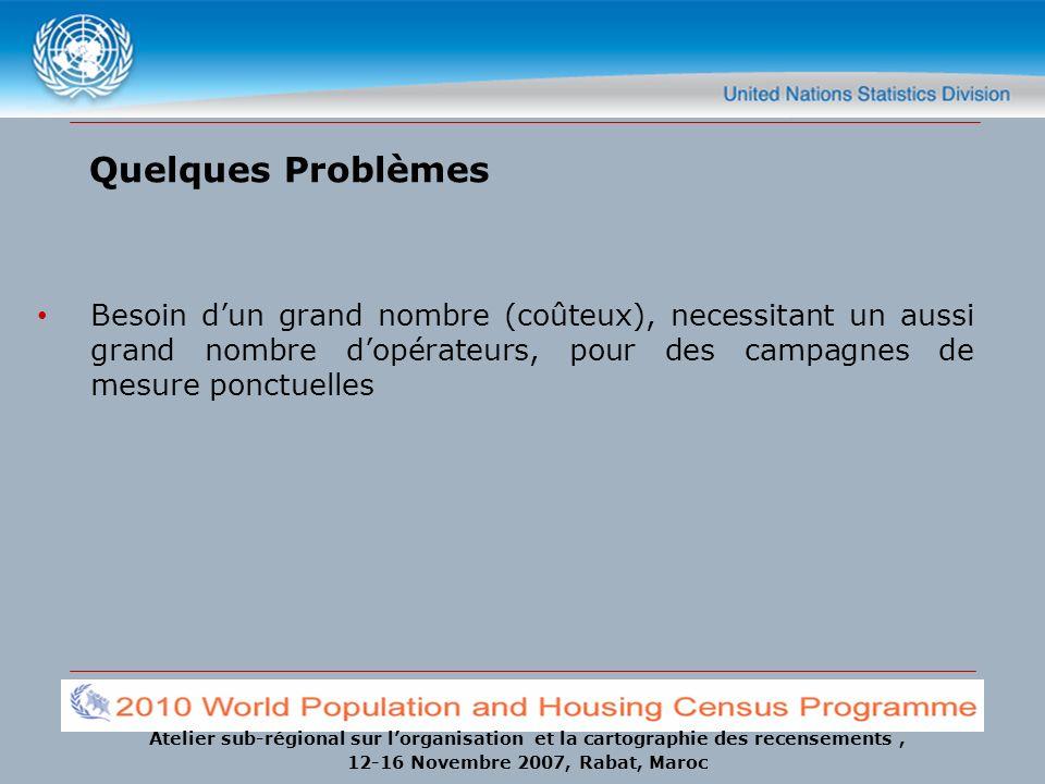 Atelier sub-régional sur lorganisation et la cartographie des recensements, 12-16 Novembre 2007, Rabat, Maroc Quelques Problèmes Besoin dun grand nomb