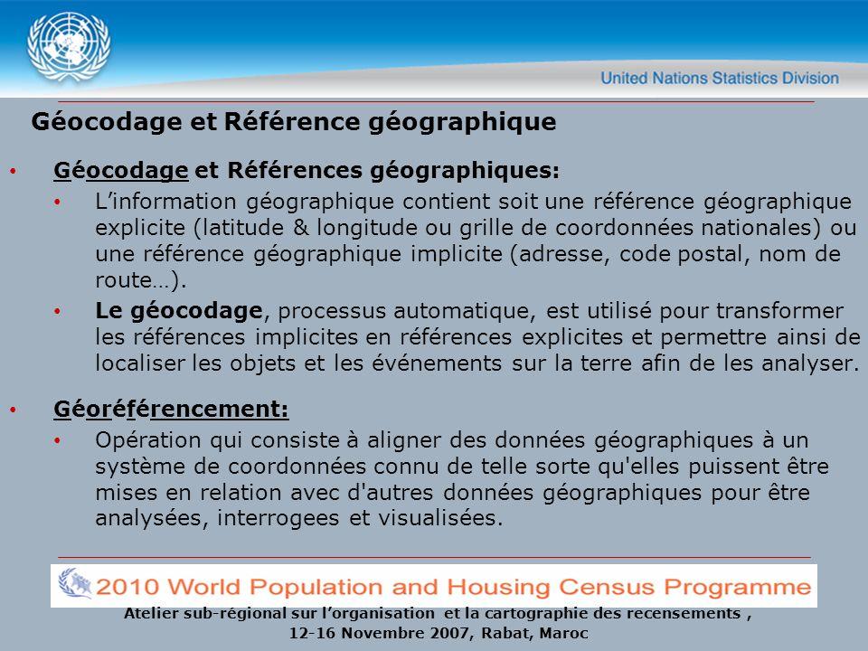 Atelier sub-régional sur lorganisation et la cartographie des recensements, 12-16 Novembre 2007, Rabat, Maroc Géocodage (ESRI) Opération SIG de conversion d adresses en données spatiales qui peuvent être affichées en tant qu entités sur une carte, généralement en référençant les informations d adresse à partir d une couche de données de segment de rue.