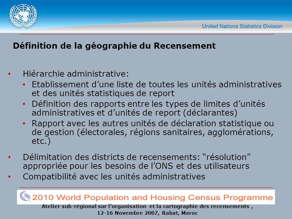 Atelier sub-régional sur lorganisation et la cartographie des recensements, 12-16 Novembre 2007, Rabat, Maroc Définition de la géographie du Recenseme