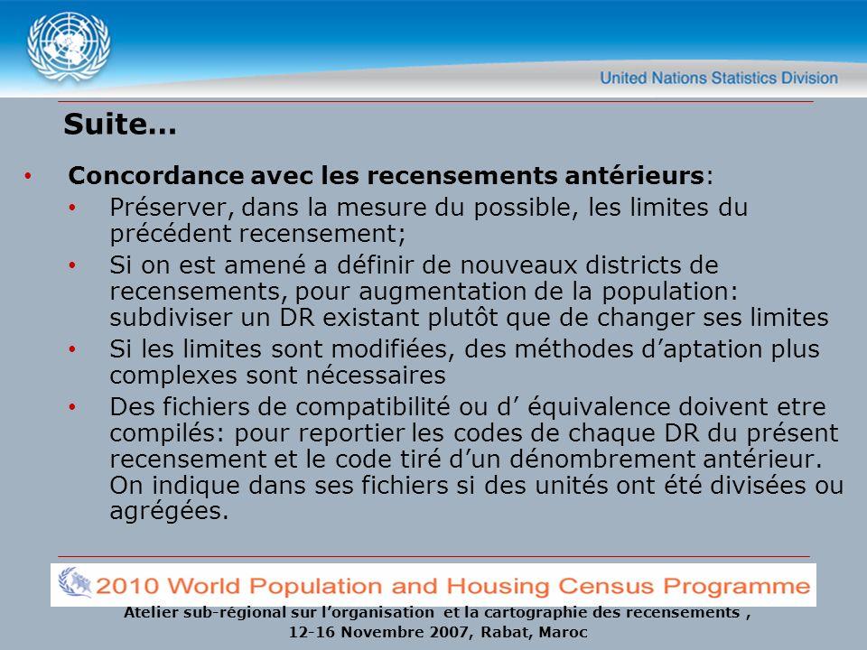 Atelier sub-régional sur lorganisation et la cartographie des recensements, 12-16 Novembre 2007, Rabat, Maroc Suite… Concordance avec les recensements