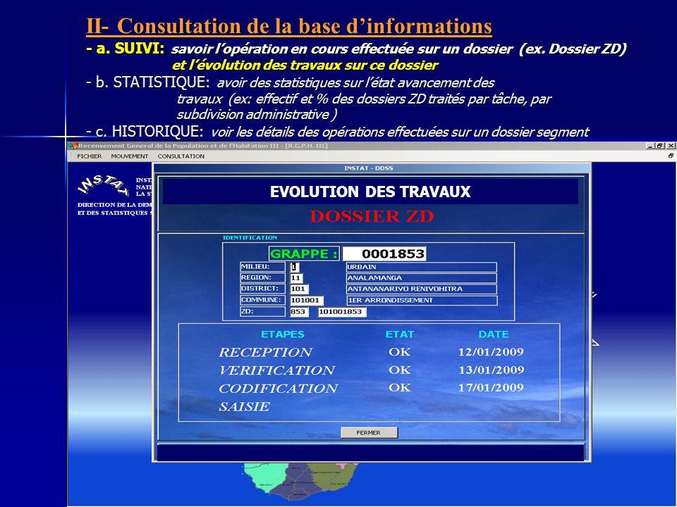 II- Consultation de la base dinformations - a. SUIVI: savoir lopération en cours effectuée sur un dossier (ex. Dossier ZD) et lévolution des travaux s