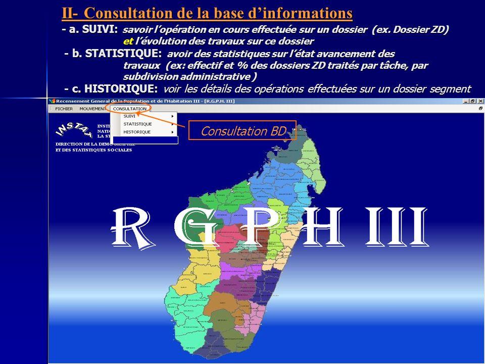 II- Consultation de la base dinformations - a.