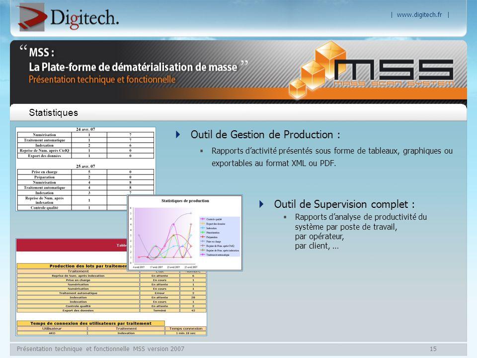| www.digitech.fr | Présentation technique et fonctionnelle MSS version 200715 Statistiques Outil de Gestion de Production : Rapports dactivité présen