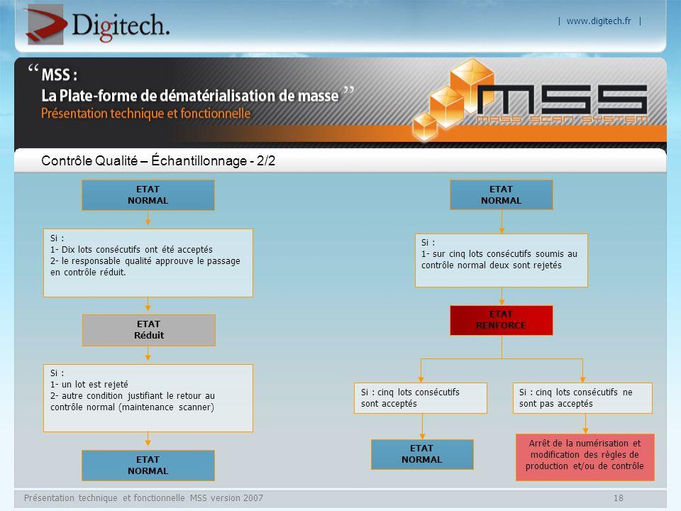 | www.digitech.fr | Présentation technique et fonctionnelle MSS version 200718 Contrôle Qualité – Échantillonnage - 2/2 ETAT NORMAL Si : 1- Dix lots c