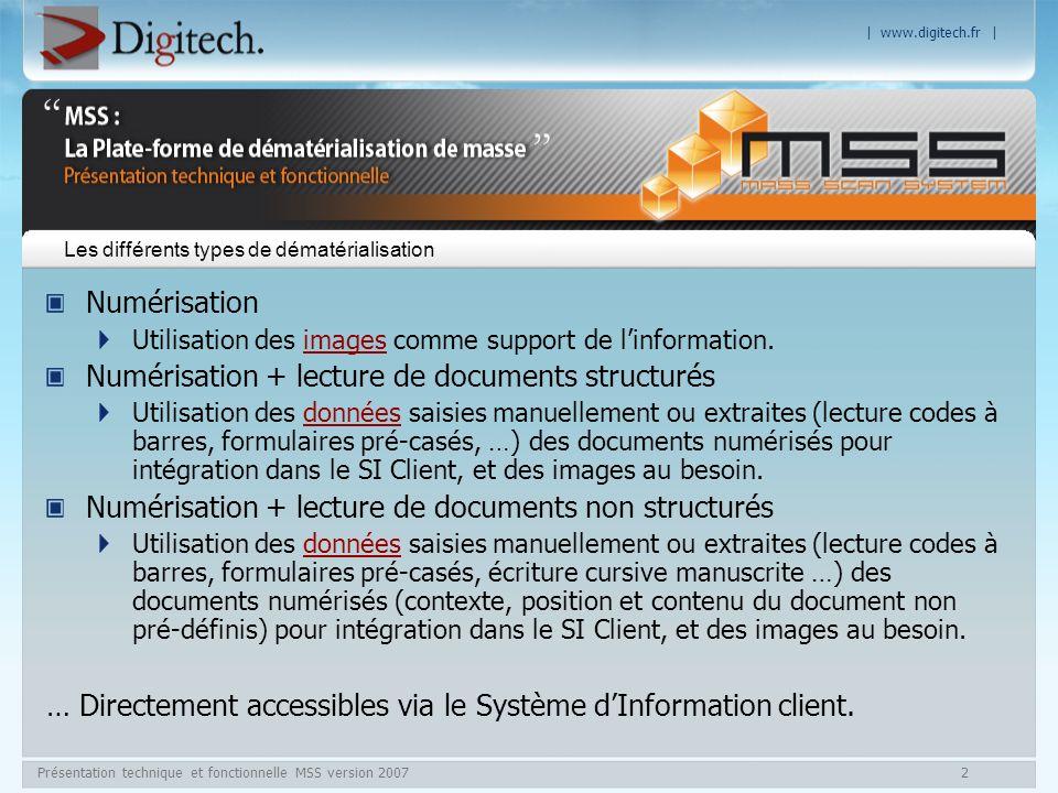 | www.digitech.fr | Présentation technique et fonctionnelle MSS version 200713 Module de Contrôle Qualité Contrôle qualité dans le respect des normes Z42–013, X 06 022 : Lisibilité Mono / Multi index Un contrôle industriel avec une gestion de NQA (Niveau de Qualité acceptable).