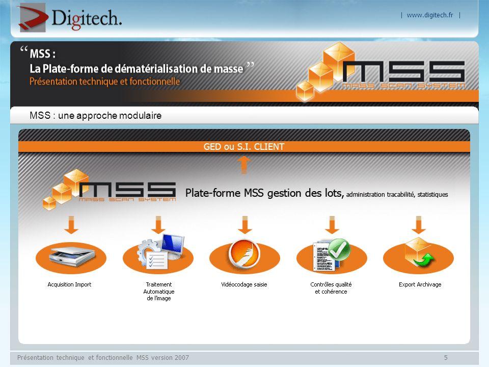 | www.digitech.fr | Présentation technique et fonctionnelle MSS version 20076 MSS – La dématérialisation des flux Approche modulaire du processus de dématérialisation.