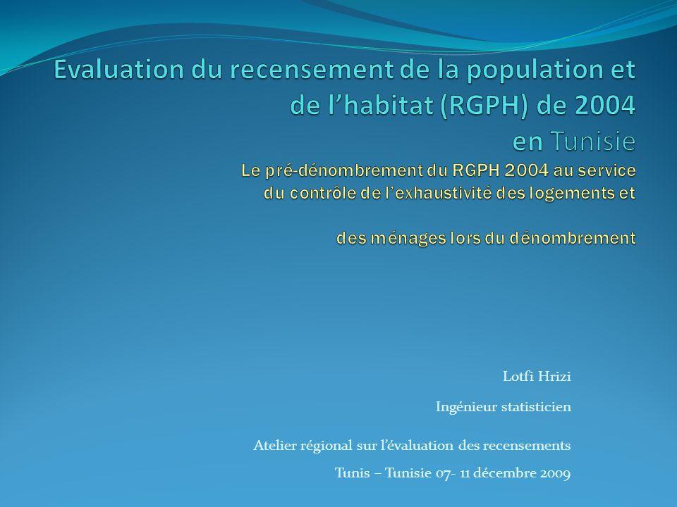 Lotfi Hrizi Ingénieur statisticien Atelier régional sur lévaluation des recensements Tunis – Tunisie 07- 11 décembre 2009