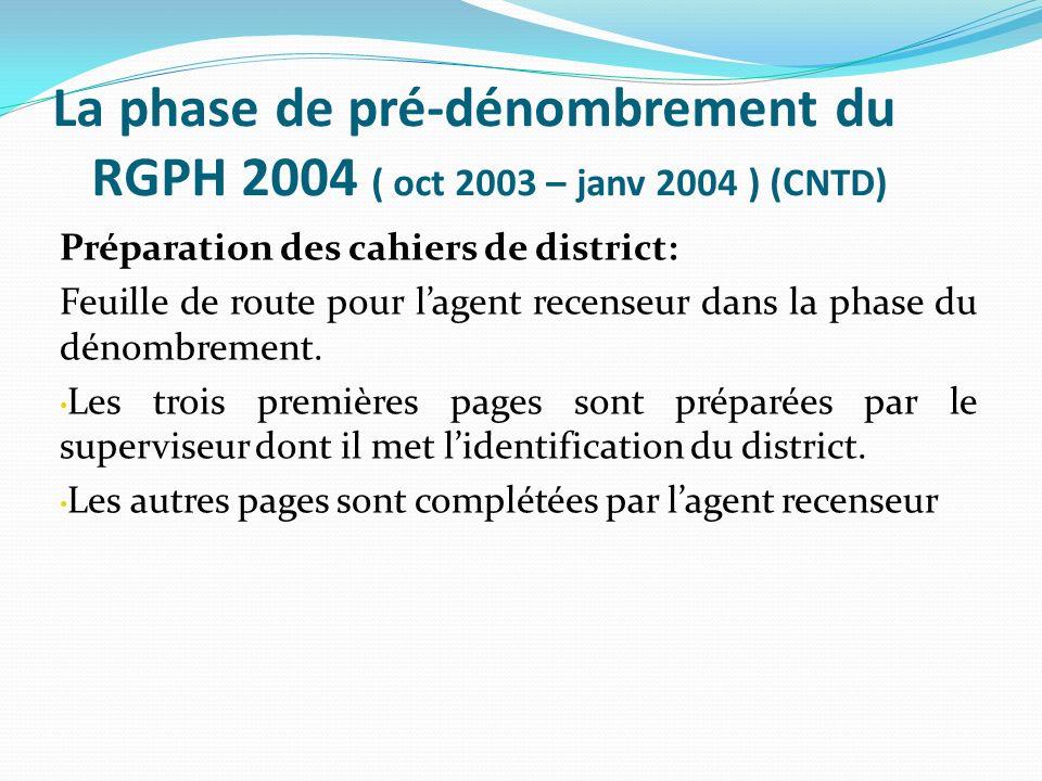 La phase de pré-dénombrement du RGPH 2004 ( oct 2003 – janv 2004 ) (CNTD) Préparation des cahiers de district: Feuille de route pour lagent recenseur