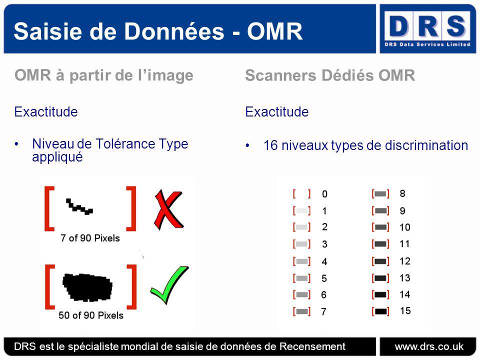 Saisie de Données - OMR OMR à partir de limage Exactitude Niveau de Tolérance Type appliqué Scanners Dédiés OMR Exactitude 16 niveaux types de discrimination DRS est le spécialiste mondial de saisie de données de Recensement www.drs.co.uk
