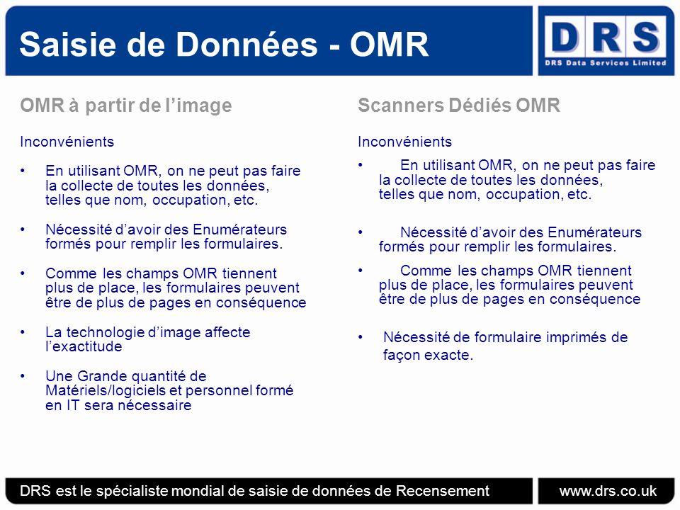 Saisie de Données - OMR OMR à partir de limage Inconvénients En utilisant OMR, on ne peut pas faire la collecte de toutes les données, telles que nom, occupation, etc.