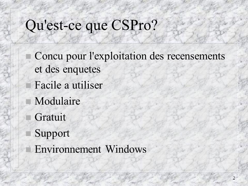 3 Census and Survey Processing Software (CSPro) Tabulations Description de fichiers (dictionnaire) Applications de saisie Applications de correction-controle Diffusion