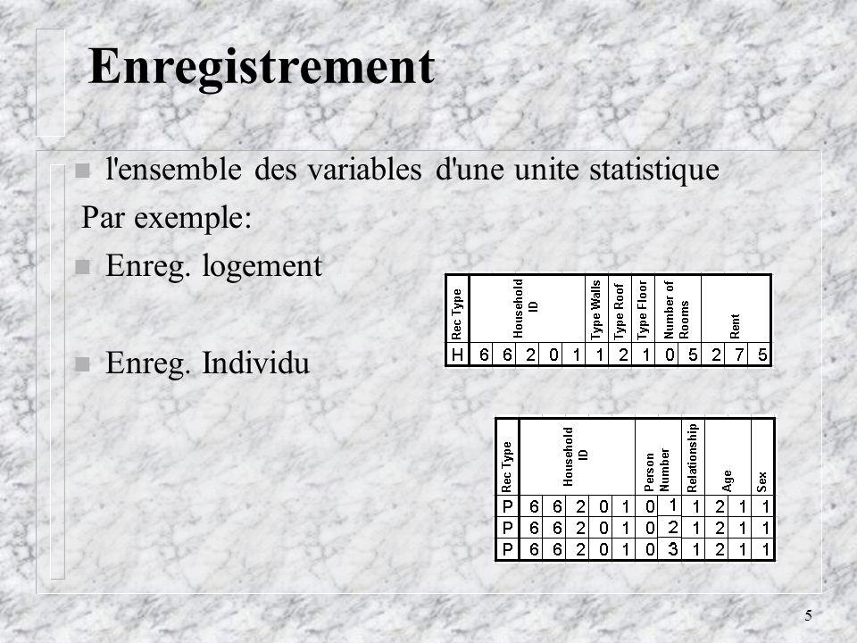 5 Enregistrement l ensemble des variables d une unite statistique Par exemple: Enreg.