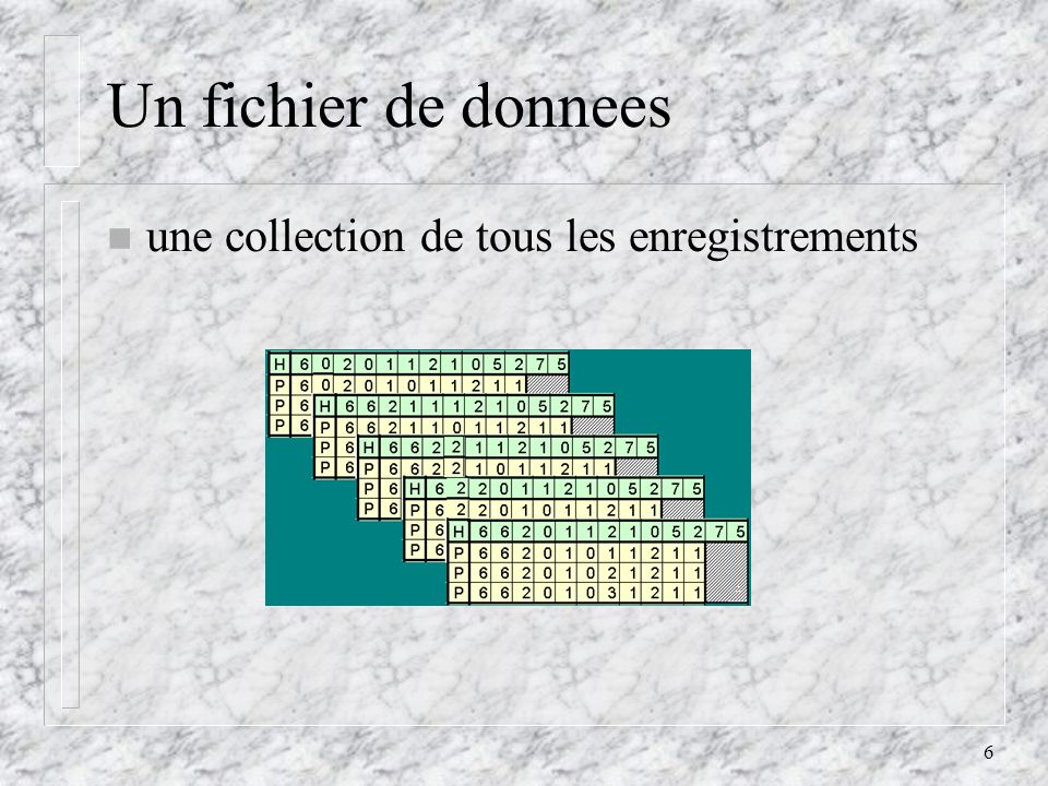 6 Un fichier de donnees une collection de tous les enregistrements