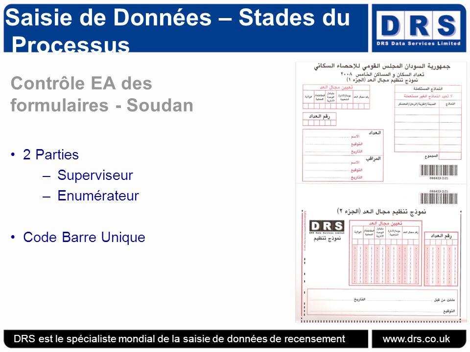 Saisie de Données – Stades du Processus Contrôle EA des formulaires - Soudan 2 Parties –Superviseur –Enumérateur Code Barre Unique DRS est le spécialiste mondial de la saisie de données de recensement www.drs.co.uk
