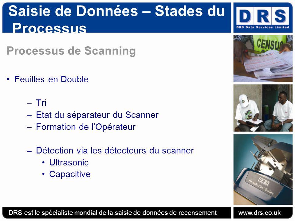 Saisie de Données – Stades du Processus Processus de Scanning Feuilles en Double –Tri –Etat du séparateur du Scanner –Formation de lOpérateur –Détection via les détecteurs du scanner Ultrasonic Capacitive DRS est le spécialiste mondial de la saisie de données de recensement www.drs.co.uk