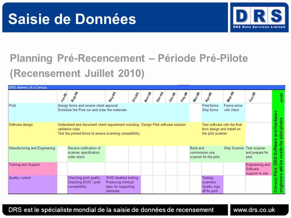 Planning Pré-Recencement – Période Pré-Pilote (Recensement Juillet 2010) Saisie de Données DRS est le spécialiste mondial de la saisie de données de recensement www.drs.co.uk