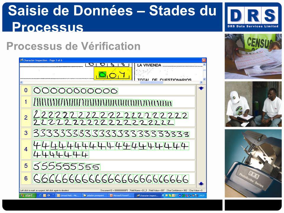 Processus de Vérification Saisie de Données – Stades du Processus